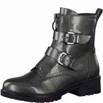 Tamaris Ladies Pewter Patent Buckle Ankle Boots