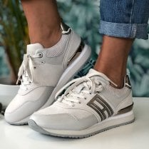 Tommy Hilfiger Ladies Grey Casual Material Mix Trainers