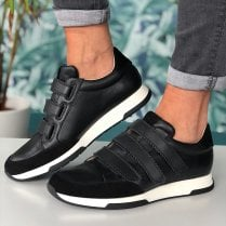 Unisa Falcer 3 Strap Leather Trainers - Black