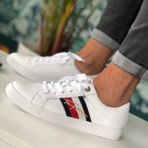 Tommy Hilfiger Ladies White Signature Cupsole Leather Trainers
