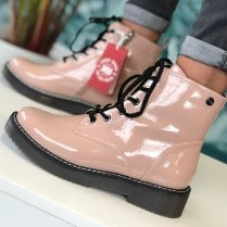 Xti Ladies Nude Patent Ankle Boot