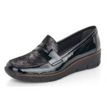 Rieker Ladies Black Patent Wedged Loafer