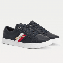 Tommy Hilfiger Ladies Navy Signature Cupsole Leather Trainers