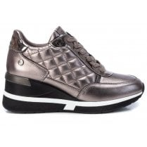 Xti Ladies Pewter Quilted Trainer Wedge