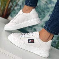 Tommy Hilfiger Ladies White Elevated Leather Trainers