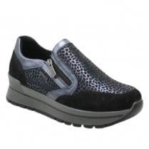 Igi & Co Ladies Black Blue Metallic Leopard Print Trainer