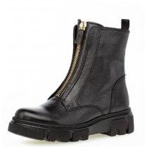 Gabor Ladies Black Calf Length Leather Zip Up Biker Boots