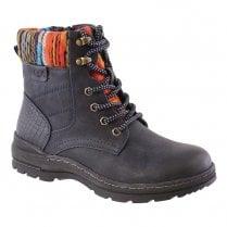 Susst Ladies Fern Navy Knit Design Ankle Boot