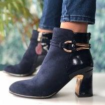 Susst Lopez Navy Suede Patent Block Heel Boot