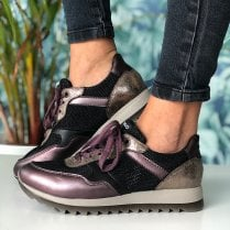 Igi & Co Ladies Purple Black and Gold Shimmer Trainers