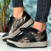 Igi & Co Ladies Black and Gold Zebra Print Trainer