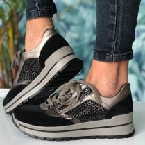 Igi & Co Ladies Black and Bronze Leopard Print Trainers