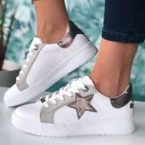 Refresh Ladies White/Pewter Star Trainers
