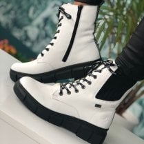 Rieker Ladies Off White Leather Wool Lined Boots