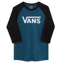 Vans Mens Classic Raglan Blue and Black T-Shirt
