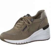 Marco Tozzi Ladies Light Brown Wedge Trainers