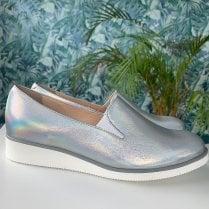 Bioeco Ladies Silver Low Wedge Slip On Shoe