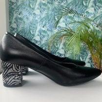 Bioeco by Arka Ladies Black Zebra Print Block Heel Shoe
