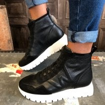 Wonders Ladies England Black Two-Tone Ankle Boots