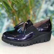 Wonders Ladies Navy Candy Slip On Wedge Loafers