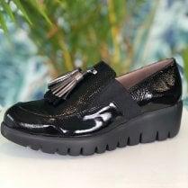 Wonders Ladies Black Candy Slip On Wedge Loafers