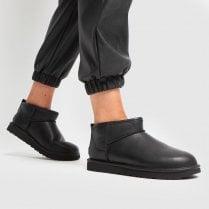 UGG Classic Utra Mini Black Leather Boot