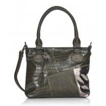 Remonte Ladies Dark Green Scale Print Shoulder Strap Bag