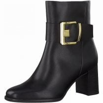 Marco Tozzi Ladies Black Buckle Heeled Boots