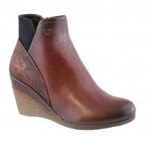 Susst Ladies Nadine Dark Brown Wedge Ankle Boots