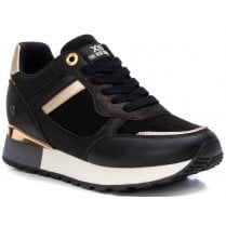 Xti Ladies Black and Bronze Low Wedge Trainers