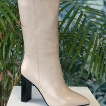 Redz Ladies Calf Length Cream Heeled Boots