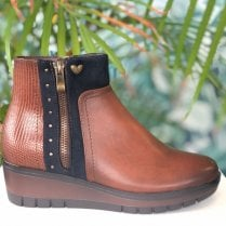 Susst Ladies Hayley Tan Navy Ankle Boot
