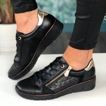 Rieker 53703 Black and Gold Quilted Wedge Trainers
