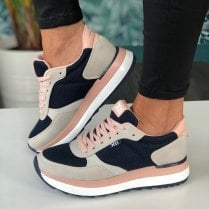 Xti Ladies Navy and Pink Trainers