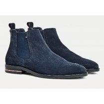 Tommy Hilfiger Mens Navy Signature Suede Chelsea Boots
