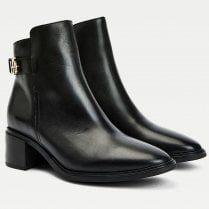 Tommy Hilfiger Ladies Black Monogram Plaque Leather Ankle Boots