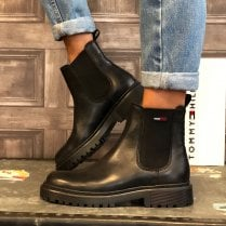 Tommy Hilfiger Ladies Black Leather Cleat Chelsea Boots