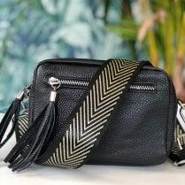 Elie Black Leather Crossbody Bag - with chevron strap