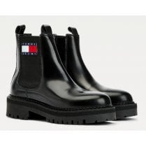 Tommy Hilfiger Ladies Black Urban Leather Cleat Chelsea Boots