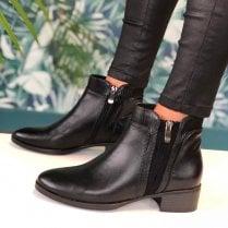 Susst Ladies Gemma Black Reptile Print Chelsea Boots