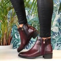 Susst Ladies Gemma Wine Reptile Print Chelsea Boots