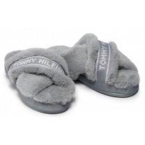 Tommy Hilfiger Ladies Grey Furry Home Slipper