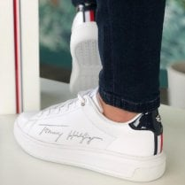 Tommy Hilfiger White Signature Embroidery Leather Cupsole Trainers