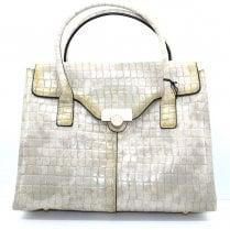 Hispanitas Cream Croc Print Handbag