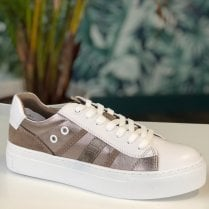 Marco Tozzi Ladies White and Taupe Panel Trainers