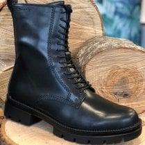 Tamaris Ladies Black Fake Lace Biker Boot