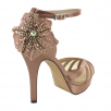 Menbur Habana Rose Satin Flower High Heel Platform Sandals 07551