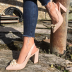Bruno Premi Nude Pointed Slingback With Pearls