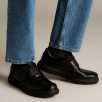 Clarks Un Abode Strap Mens Casual Smart Shoes - Black Leather