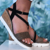 Tamaris Ladies Black Patterned Wedged Sandal
